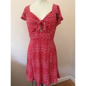 NWOT Red polka dot dress with front & back detail